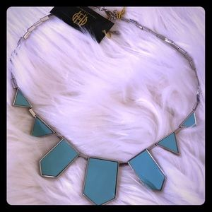 HOH, SILVER BIB NECKLACE, w/ TURQUOISE LEATHER